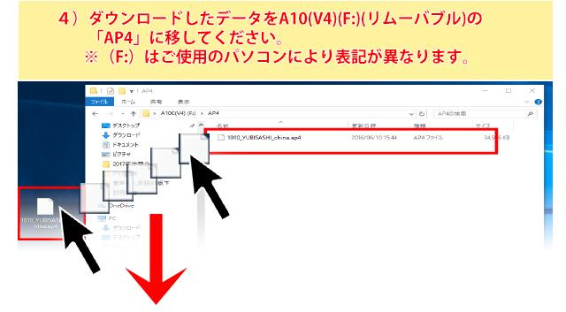 ダウンロードしたデータをA10(V4)(F:)(リムーバル)の 「AP4」に上書きしてください。